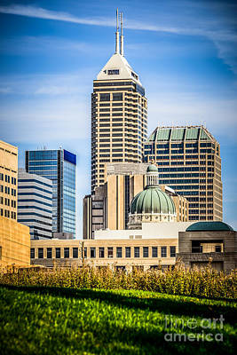 Indianapolis Cityscape Downtown City Buildings Poster by Paul Velgos