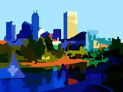 Poster featuring the painting Indianapolis Cityscape by P Dwain Morris