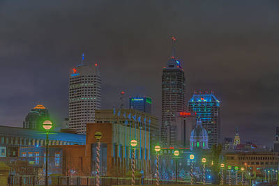 Indianapolis Indiana Night Skyline Fog Poster by David Haskett