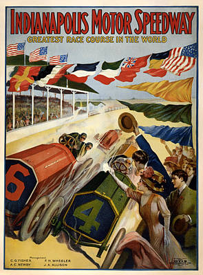 Indianapolis Motor Speedway - Vintage Lithograph Poster by Mountain Dreams