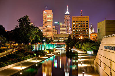 Poster featuring the photograph Indianapolis Skyline - Canal Walk Bridge View by Gregory Ballos