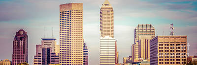 Indianapolis Skyline Retro Panoramic Picture Poster