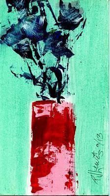 Indigo Roses In Vase Poster