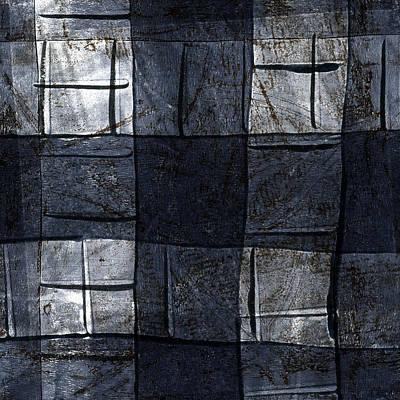 Indigo Squares 4 Of 5 Poster by Carol Leigh