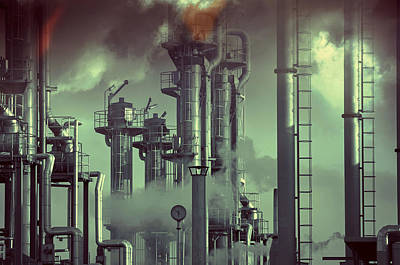 Industry Oil Refinery Concept Poster