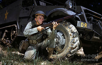 Infantryman In 1942 With M1 Garand Poster by Paul Fearn