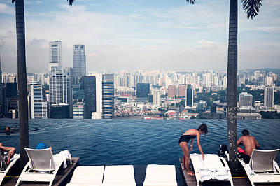 Infinity Pool At Marina Bay Sands Poster by Chris Quek