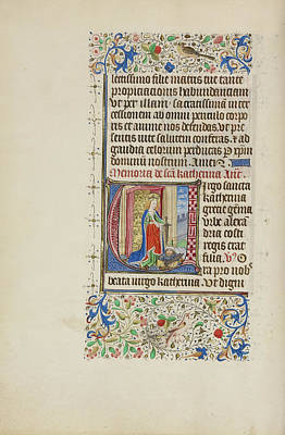 Initial V Saint Catherine Holding A Sword Over A King Poster by Litz Collection