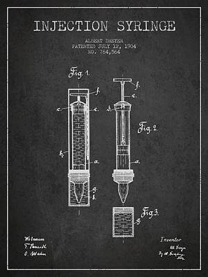 Injection Syringe Patent From 1904 - Dark Poster