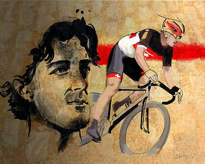 Ink Portrait Illustration Print Of Cycling Athlete Fabian Cancellara Poster