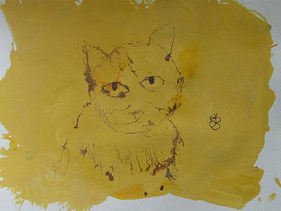 Poster featuring the drawing Inked Cat 2 by AJ Brown