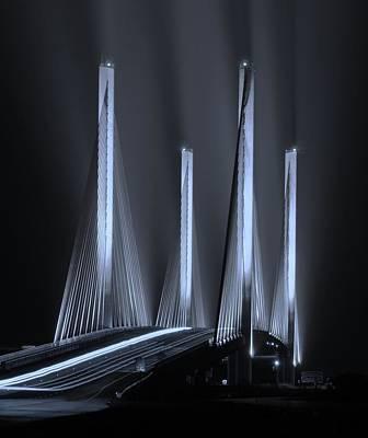 Inlet Bridge Light Trails In Cyan Poster