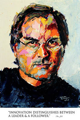Innovation Distinguishes Between A Leader And A Follower Steve Jobs Poster by Derek Russell