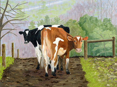 Inquisitive Cows Poster
