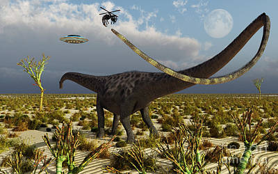 Insectoid Drones Attack A Diplodocus Poster by Mark Stevenson