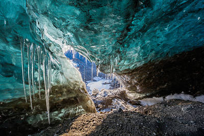 Inside Glacial Ice Cave Poster