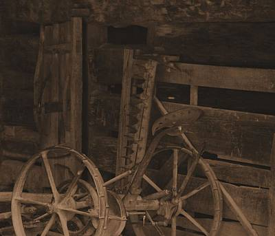 Inside The Barn In Sepia Poster