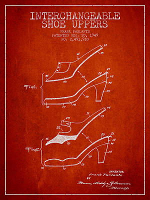 Interchangeable Shoe Uppers Patent From 1949 - Red Poster by Aged Pixel