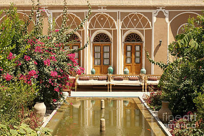 Interior Garden With Pond In Yazd Iran Poster