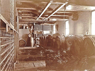 Interior Of A Brewery Wooden Barrels And Bottles On Shelves Poster