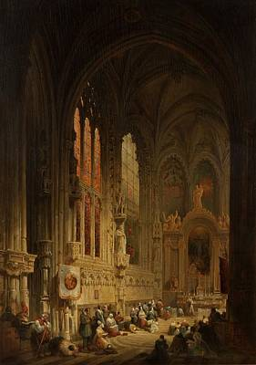 Interior Of A Cathedral, 1822 Or 1829 Poster by David Roberts