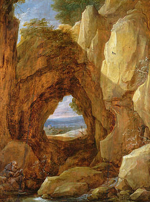 Interior Of A Cave Oil On Canvas Poster by David the Younger Teniers