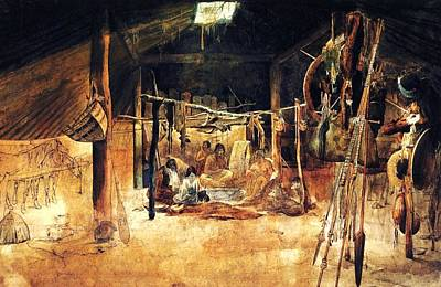 Interior Of A Earth House Of The Mandan Poster by Karl Bodmer