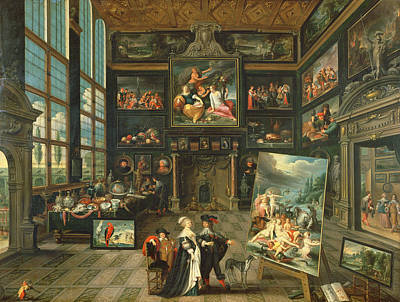Interior Of A Gallery, 1637 Oil On Panel Poster by Cornelis de I Baellieur
