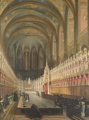 Interior Of Albi Cathedral, 1832 Oil On Canvas Poster by Adrien Dauzats