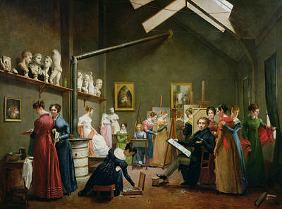 Interior Of Alexandre Denis Abel De Pujols 1787-1861 Studio Oil On Canvas Poster