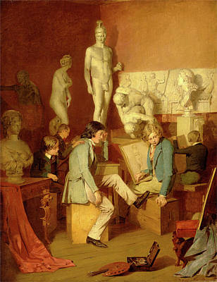 Interior Of An Academy The Critics Signed In Brown Paint Poster by Litz Collection