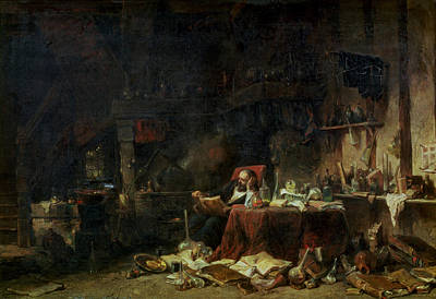 Interior Of An Alchemists Study Oil On Canvas Poster by Louis Eugene Gabriel Isabey