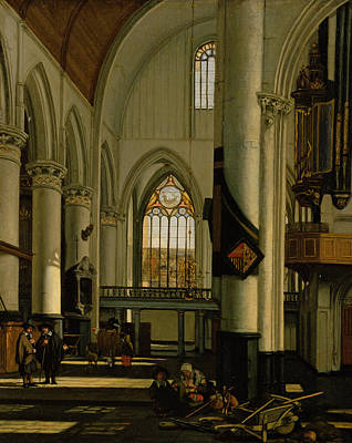 Interior Of An Imaginary Protestant Gothic Church Poster