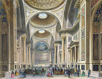 Interior Of La Madeleine, Paris Colour Litho Poster by Philippe Benoist
