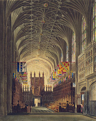 Interior Of St. Georges Chapel, Windsor Poster by Charles Wild