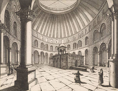 Interior Of The Holy Sepulchre In Jerusalem Israel Poster by Jan Luyken