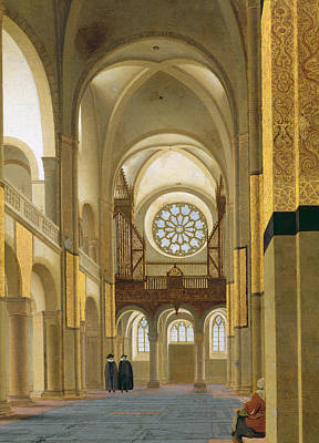 Interior Of The Marienkirche In Utrecht, 1638 Oil On Panel Detail Of 150808 Poster