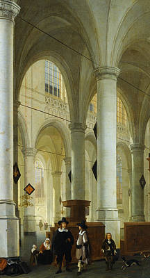 Interior Of The Oude Kerk In Delft Poster by Hendrik Cornelisz van Vliet