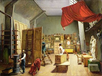Interior Of The Studio Of Abel De Pujol 1787-1861 1836 Oil On Canvas Poster by Adrienne-Marie Grandpierre-Deverzy