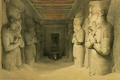 Interior Of The Temple Of Abu Simbel Poster by David Roberts