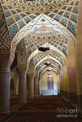 Interior Of The Winter Prayer Hall Of The Nazir Ul Mulk Mosque At Shiraz In Iran Poster
