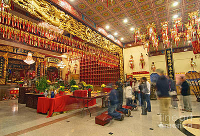 Interior Of Thien Hau Temple A Taoist Temple In Chinatown Of Los Angeles Poster by Jamie Pham