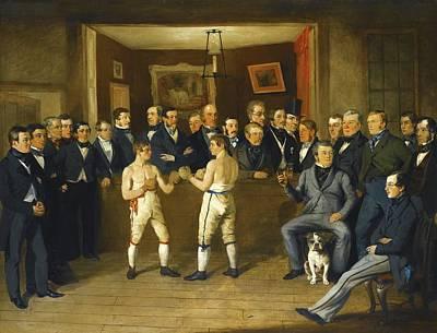Interior Scene With Boxers And Gentlemen Onlookers Poster