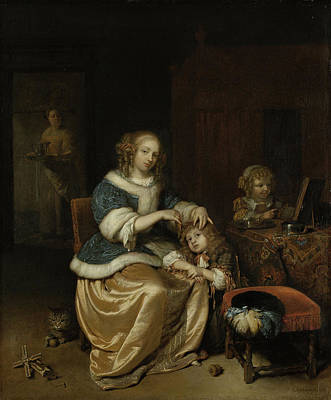 Interior With A Mother Combing Her Child's Hair Poster