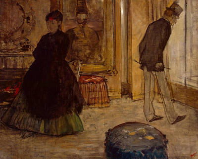 Interior With Two Figures Poster by Edgar Degas