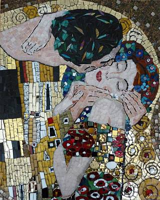 Interpretation Of The Kiss By Klimt Poster by Julie Mazzoni