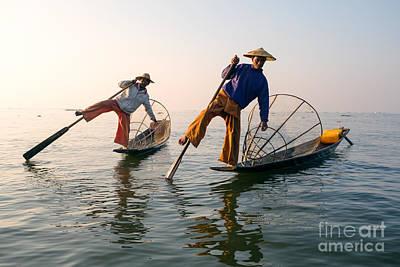 Intha Fishermen - Inle Lake - Myanmar Poster by Matteo Colombo
