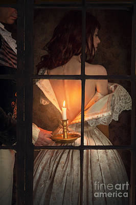 Intimate Victorian Couple Seen Through A Window Poster by Lee Avison