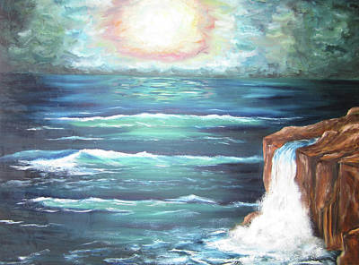 Poster featuring the painting Into The Ocean II by Cheryl Pettigrew