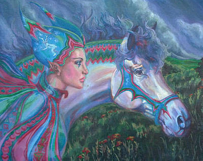Poster featuring the painting Into The Storm by Suzanne Silvir